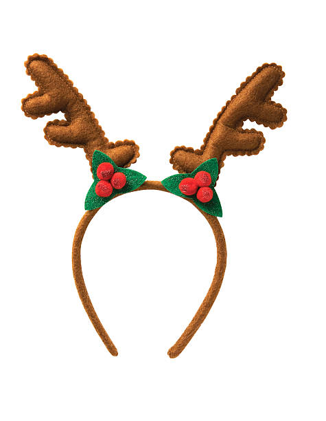 christmas antler headbands christmas antler headbands isolated on white background( with clipping path) horned stock pictures, royalty-free photos & images