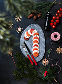 Christmas Appetizer Dish Mozzarella Caprese in Candy Cane Stick Shape