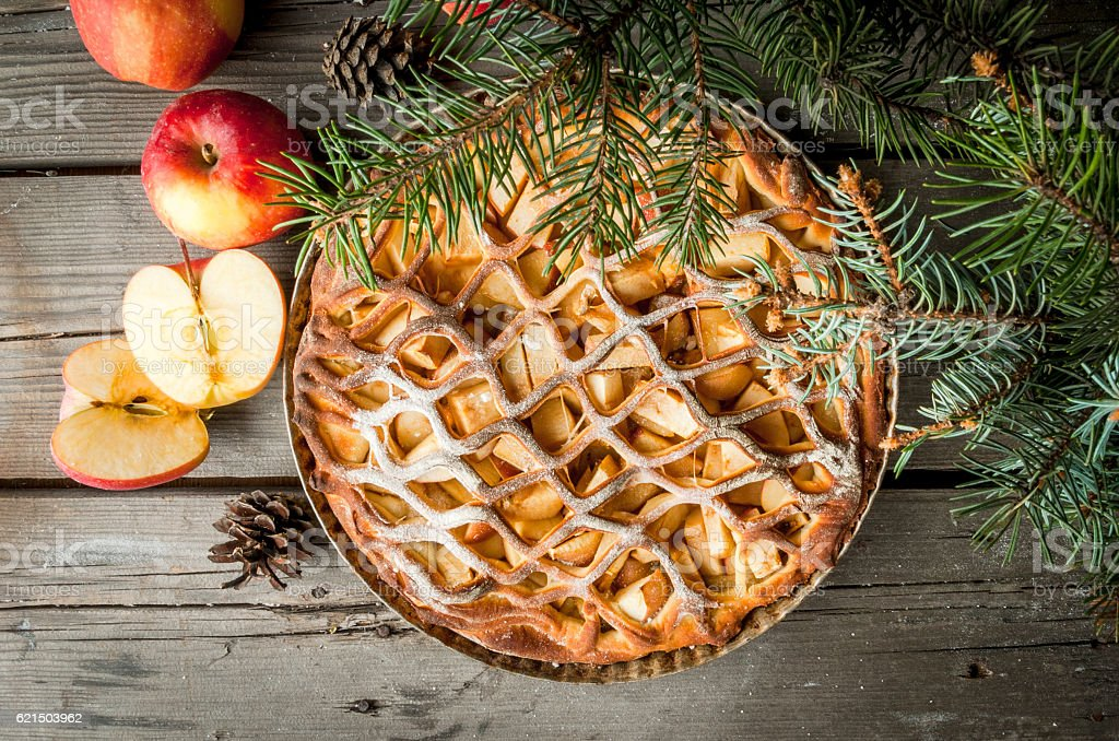Weihnachts-apple pie Lizenzfreies stock-foto
