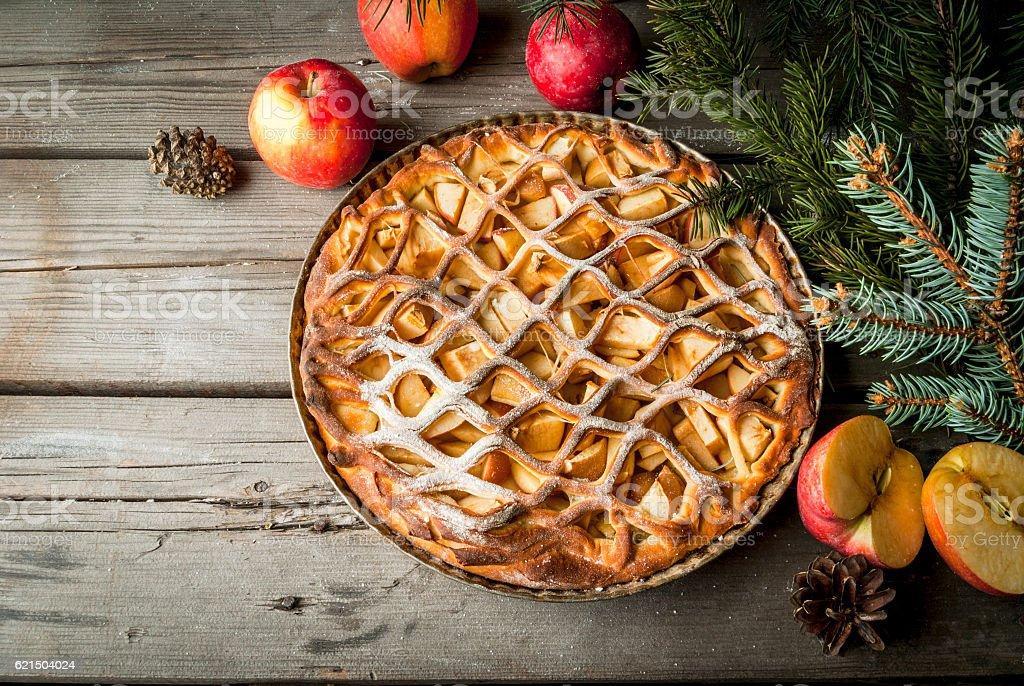 Tarte aux pommes à Noël photo libre de droits