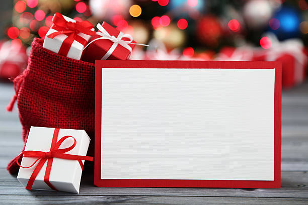christmas arrangement - gift voucher or card stock photos and pictures