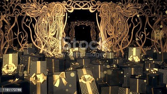 istock Christmas Art Nouveau Gift Box 03 1191170789