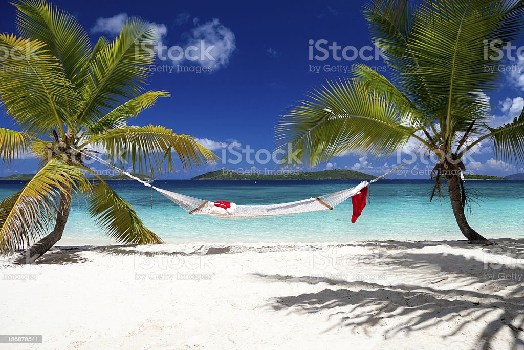 Christmas at a white sand beach in the Caribbean royalty-free stock photo