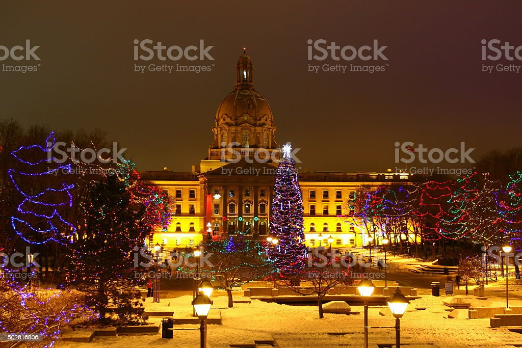 Christmas at Alberta Legislature stock photo