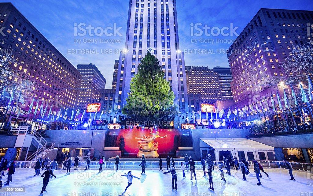 Christmas at Rockefeller Center New York stock photo
