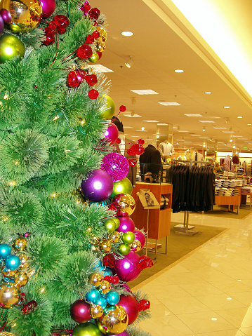 Partial shot of decorated christmas tree at the mall