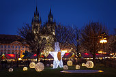 Prague, Czech Republic - January 02, 2015: Christmas atmosphere on the Old Town Square, Prague, Czech