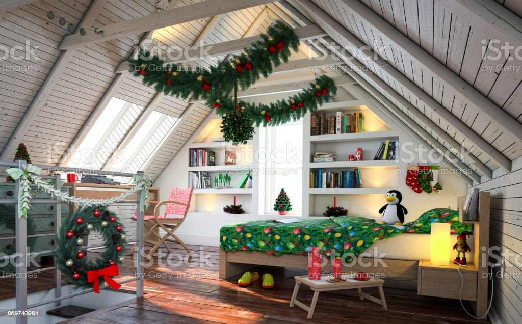 christmas attic home interior stock photo more pictures of