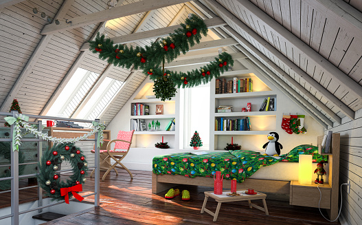 Christmas Attic.Christmas Attic Home Interior Stock Photo Download Image