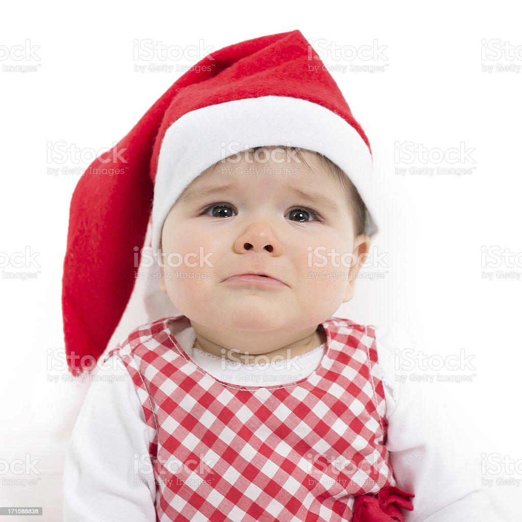 e78c50e5ffa95 Photo de stock de Noël Bébé Fille Portant Un Chapeau De Père Noël ...