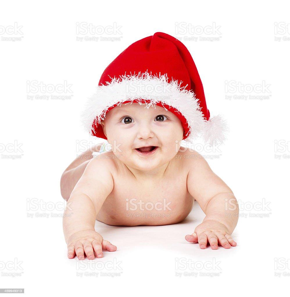 a5c79bd85d00d Photo libre de droit de Noël Bébé En Chapeau De Père Noël banque d ...