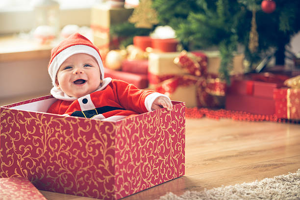 Christmas baby stock photo