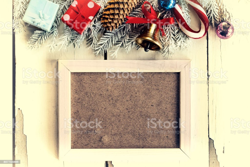 Christmas Background And White Frame Christmas Decorations Stock ...