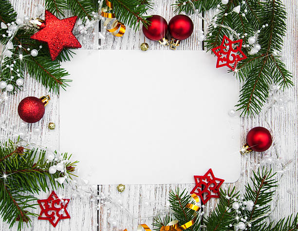 christmas background - blank paper with decoration - christmas stock photos and pictures