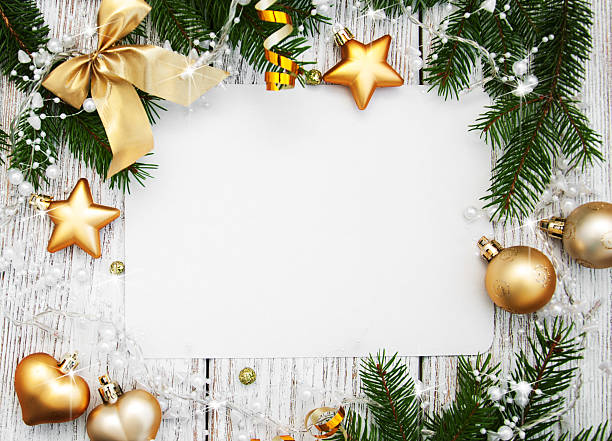 christmas background - blank paper with decoration - papier weihnachtsschmuck stock-fotos und bilder
