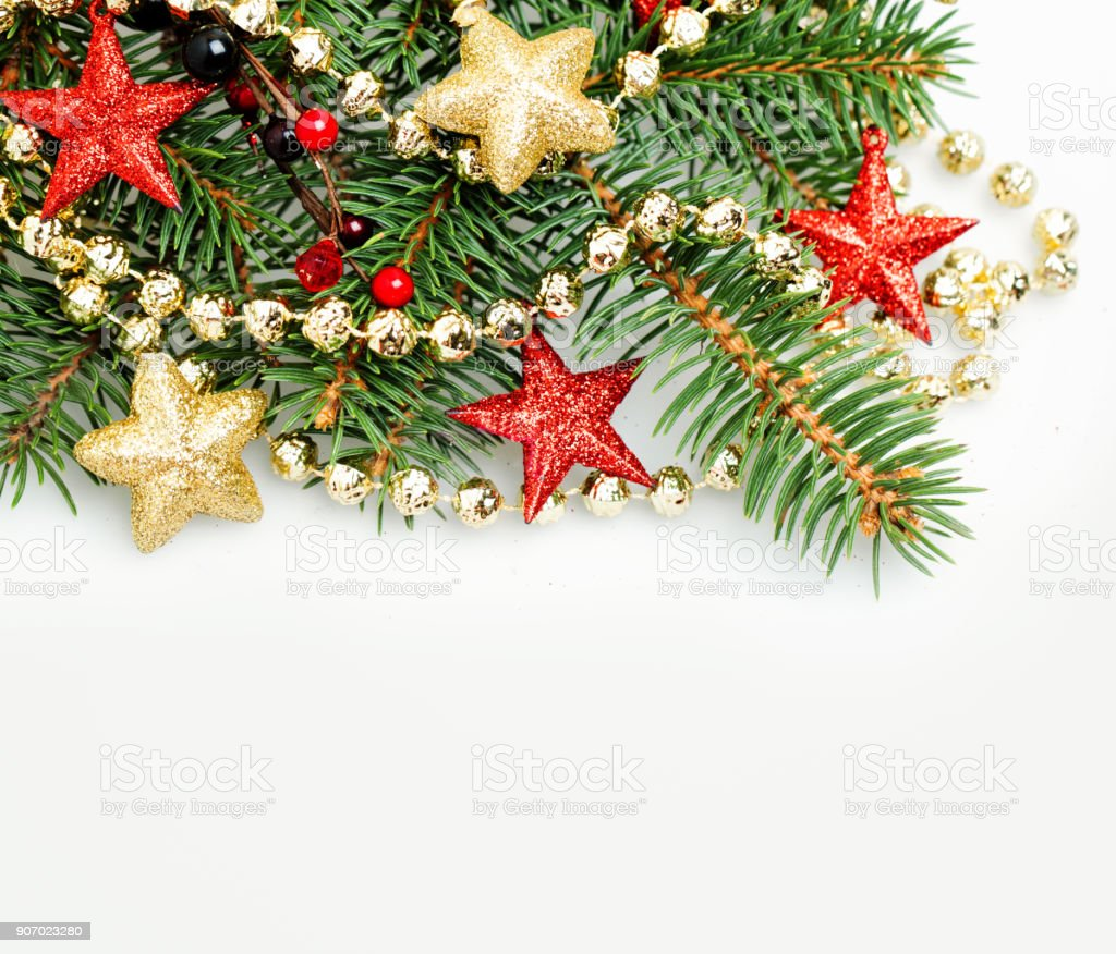 christmas background border with red and gold stars and xmas decoration new year background with