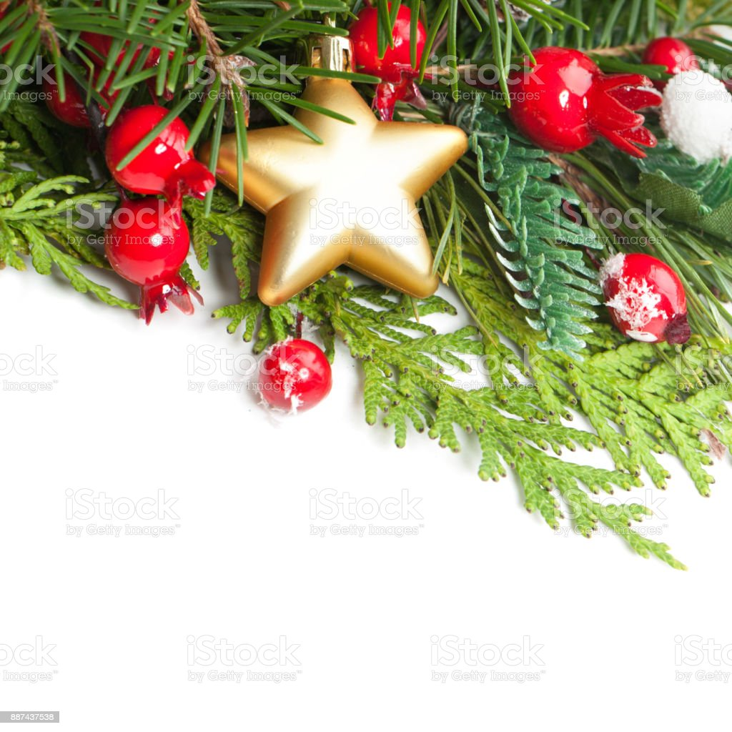 christmas background border with xmas decor green xmas tree twig and golden star on white