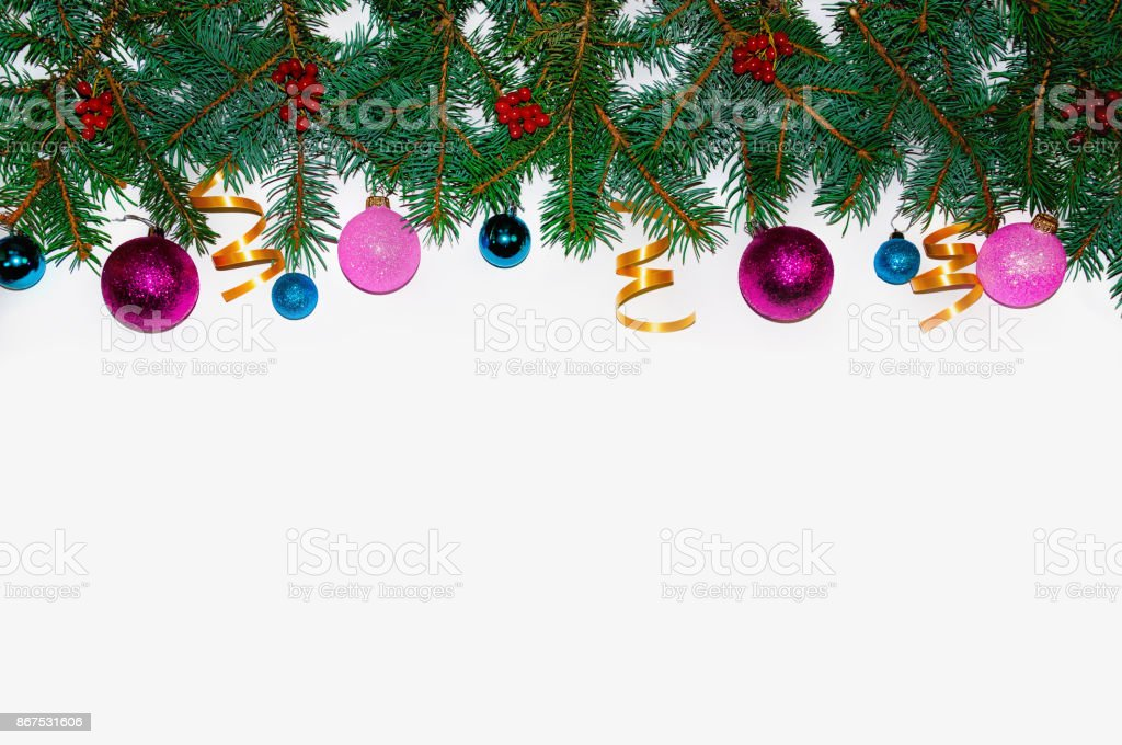 christmas background christmas frame made of fir branches new years toys christmas wallpapers