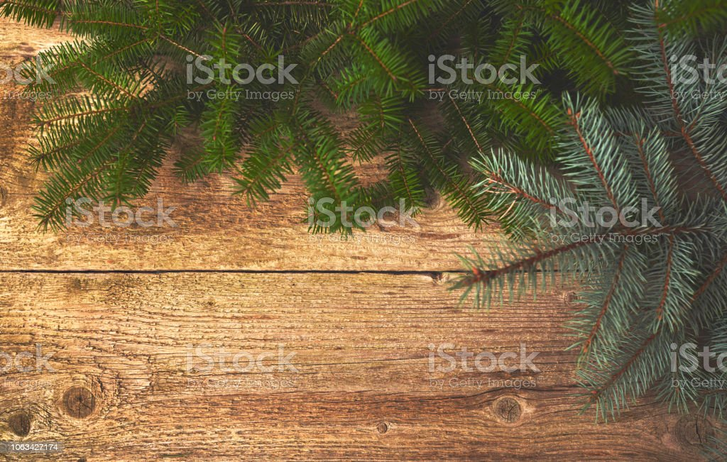 Christmas Board Design.Christmas Background Christmas Tree Over Wooden Board Design