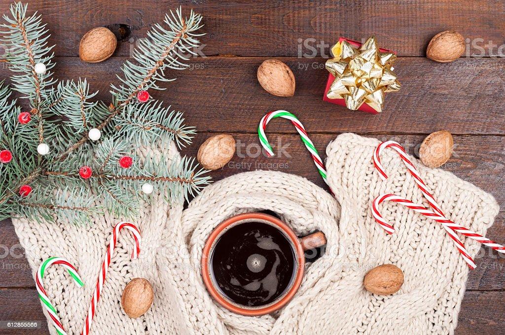 Coffee Christmas Ornaments.Christmas Background Coffee Cup Knitting Scarf Christmas
