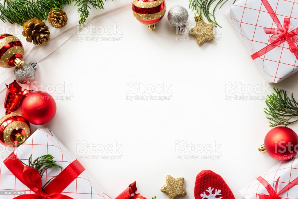 Christmas Background Concept Christmas Gift Box With Red Ball And ...
