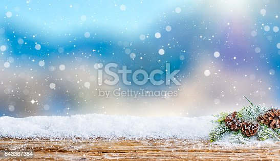 snow background light floor cold empty blue wooden space white table xmas fir plank landscape season wood card january frost falling concept - stock image