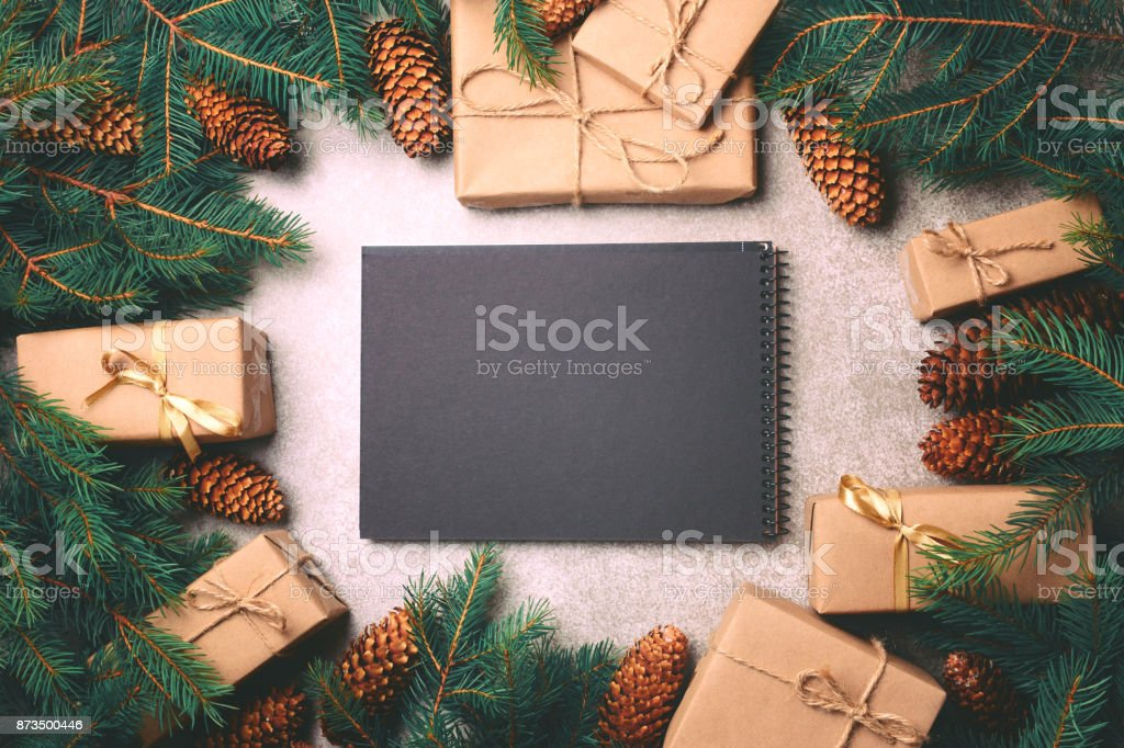 Christmas background. Craft gift boxes and decoration stock photo