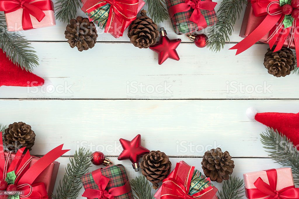 Christmas Background Decorations Frame With Gift Boxes And Red ...