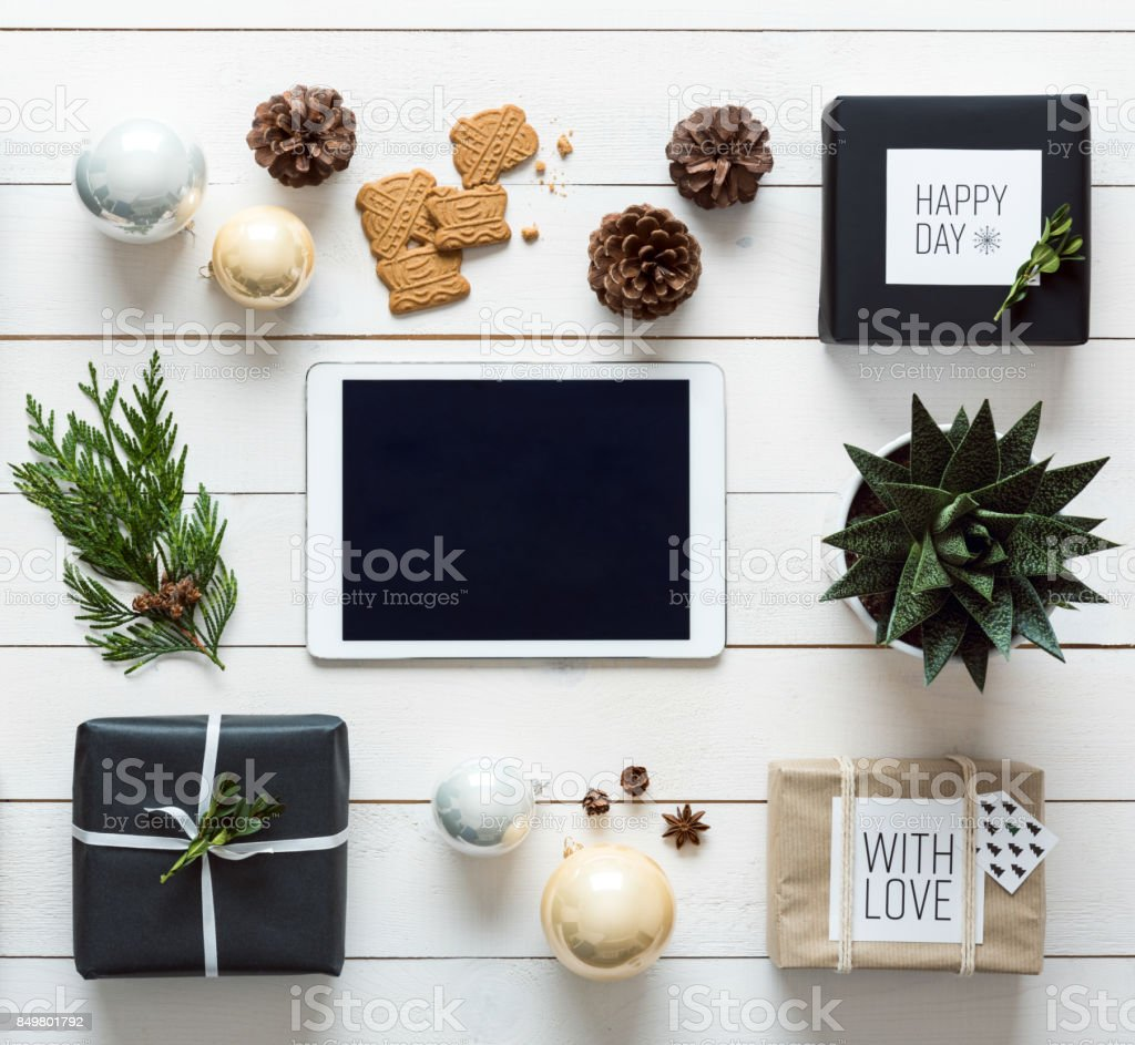 Christmas background, desk view from above, online shopping concept stock photo