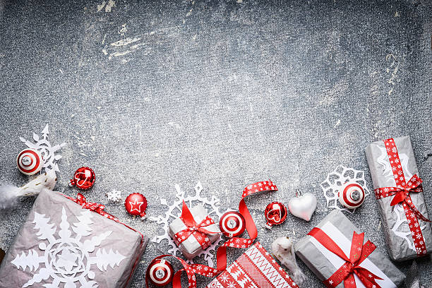christmas background festive gift boxes and  presents, top view - sale stok fotoğraflar ve resimler