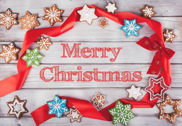 진저 쿠키에서 크리스마스 배경 스톡 사진