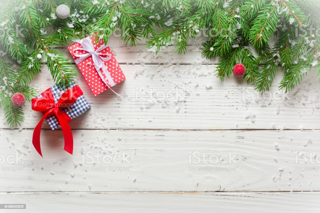 Christmas background. Gifts and congratulations on the New Year. Family meeting. stock photo