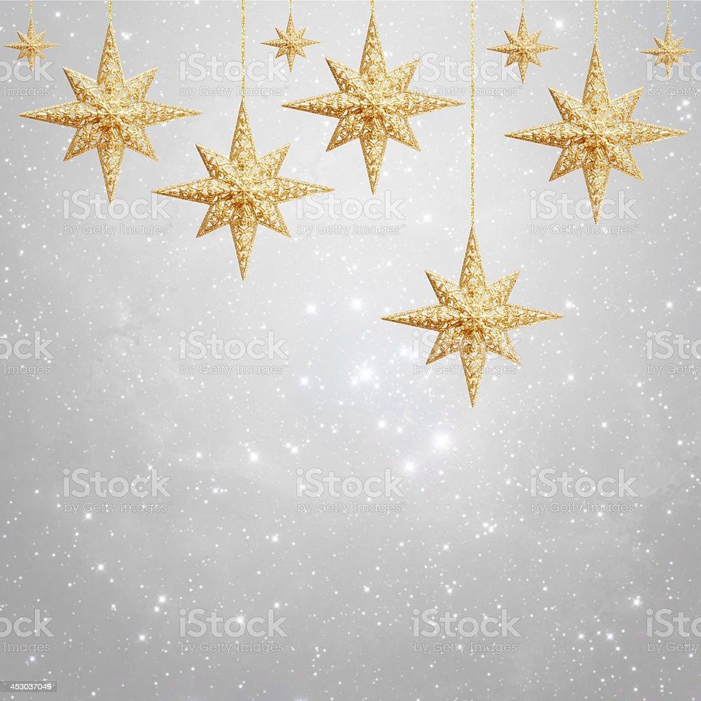 Christmas background - golden stars stock photo