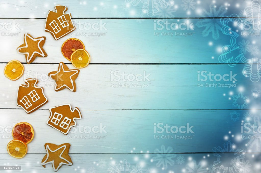 Christmas background in a rustic style. The magic of winter holidays. Homeliness. stock photo