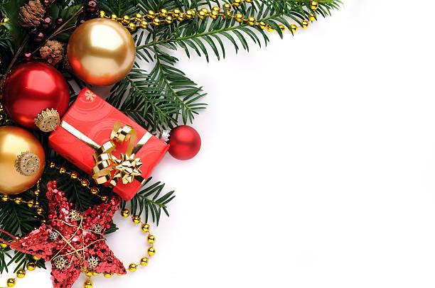 christmas background in red, gold and green - christmas decoration golden star bildbanksfoton och bilder