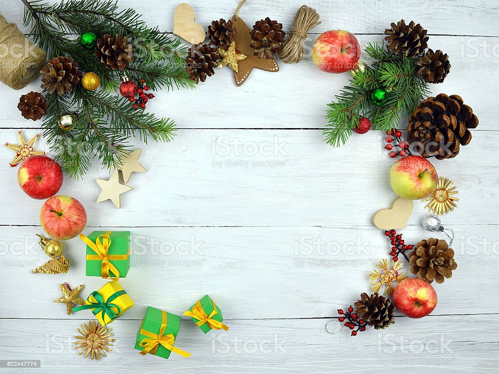 christmas background in rustic style new year top view royalty free stock