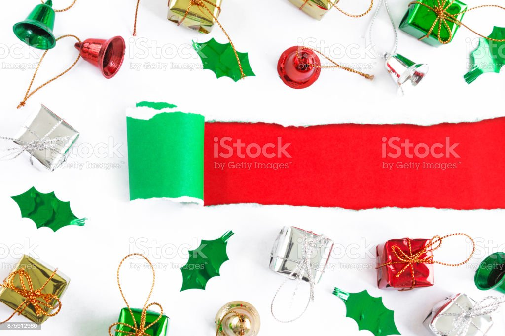 christmas background in top view with copy space stock photo