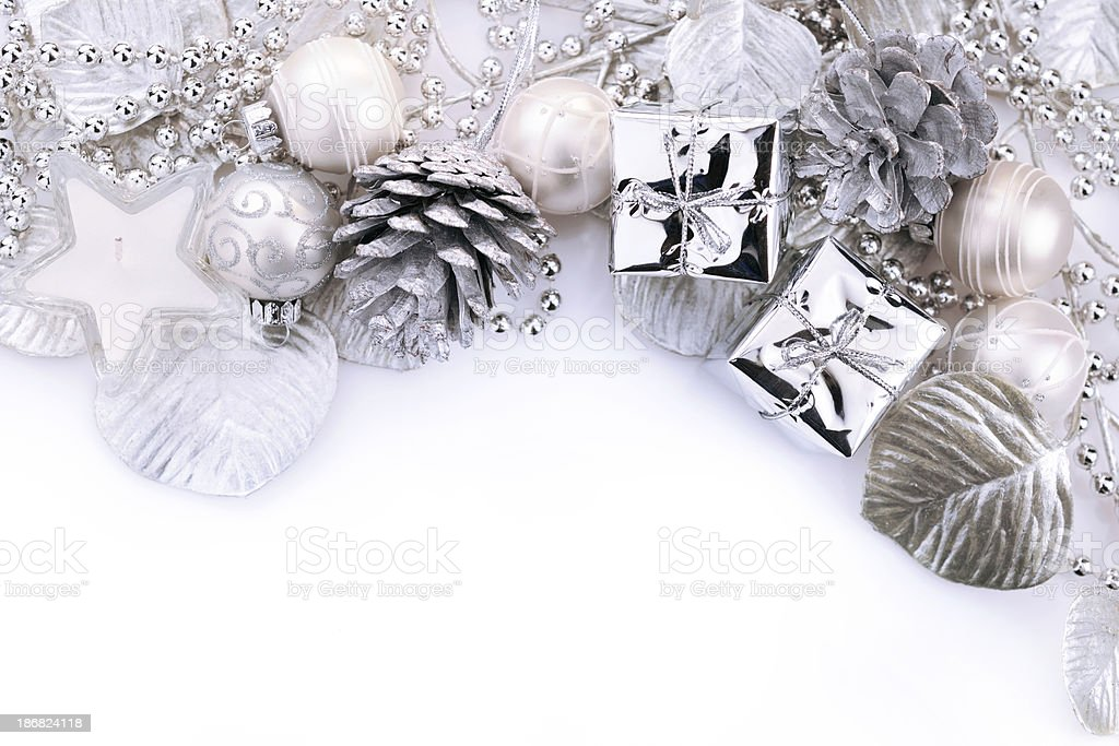 Christmas background in white and silver royalty-free stock photo