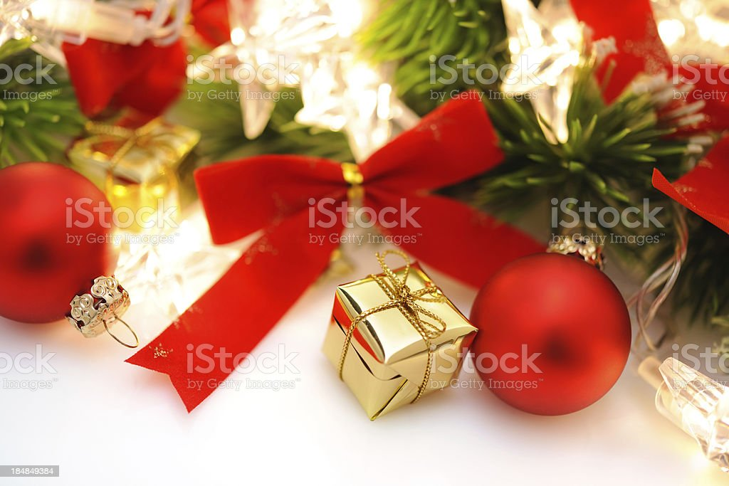 Christmas background in white,green and gold royalty-free stock photo