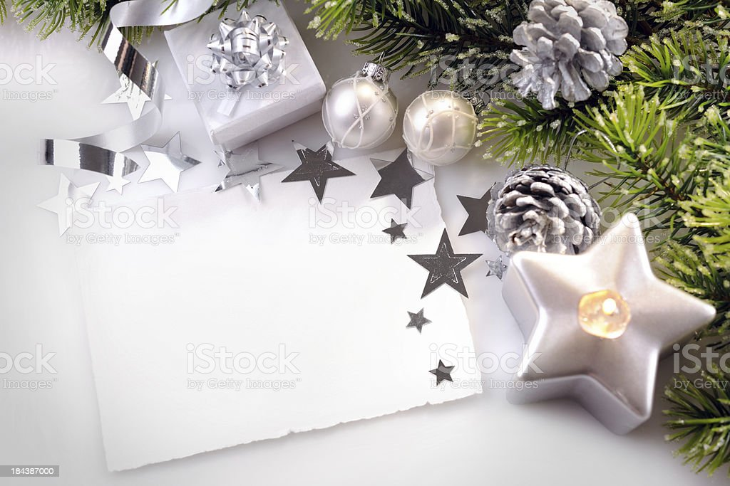 Christmas background in white,green and silver royalty-free stock photo
