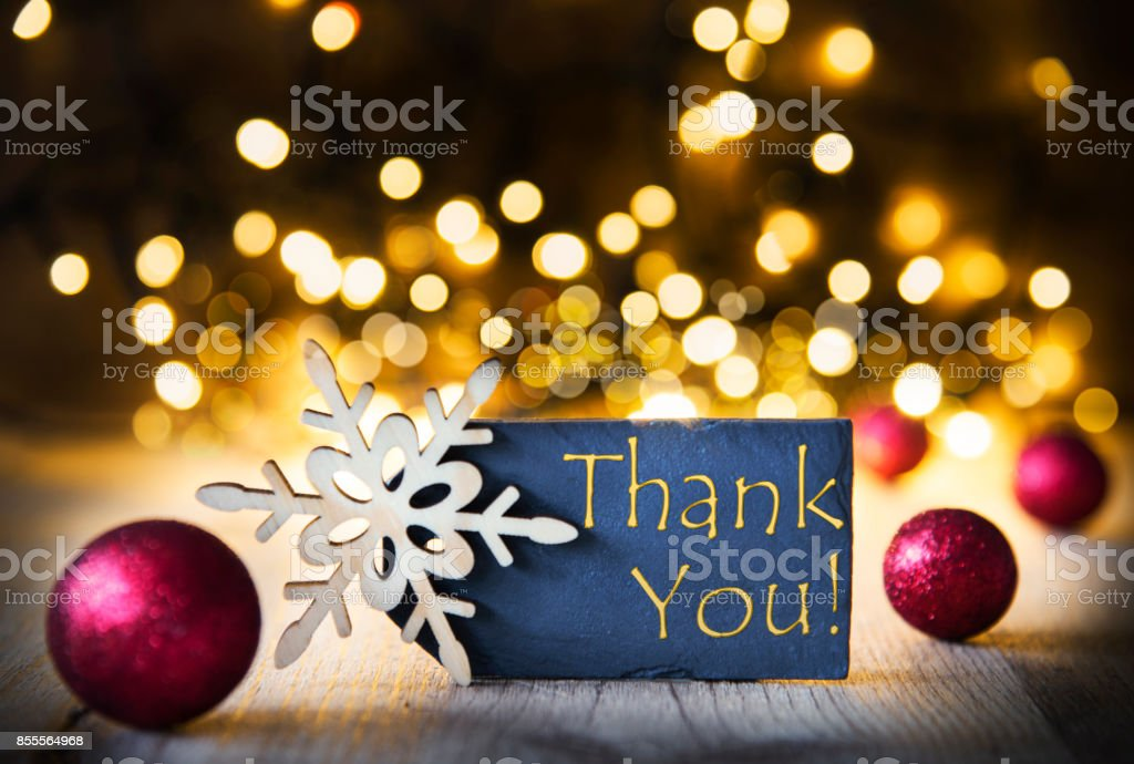 Christmas Background, Lights, Thank You stock photo