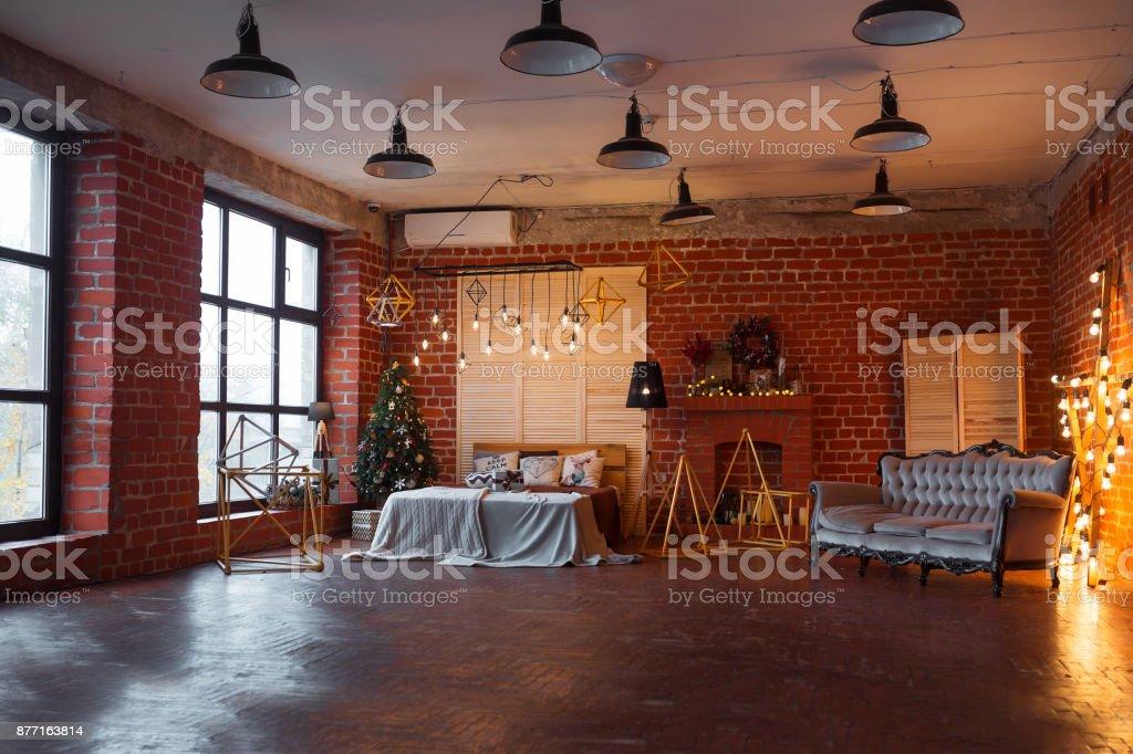 Illuminazione Per Loft : Christmas background loft interior room decorated in xmas style no