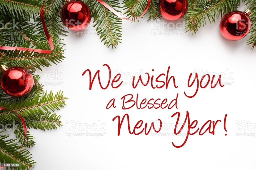 Christmas Background Message We Wish You A Blessed New Year Stock ...