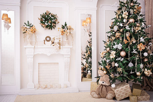 christmas background. new year interior design - garland decoration stock photos and pictures