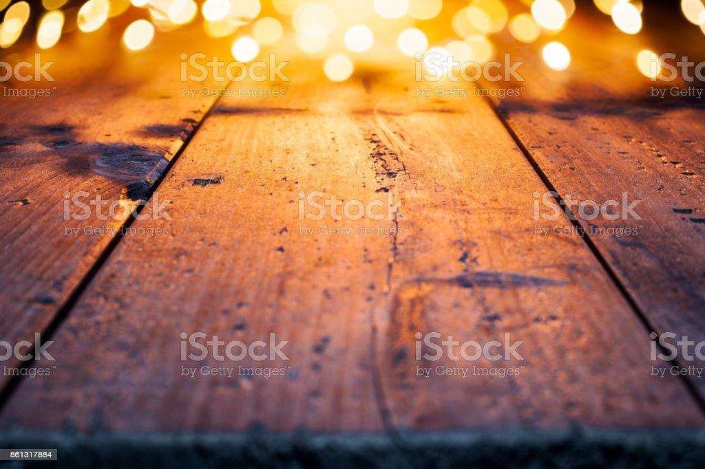 Fond de Noël - vieux bois Pasante or lumières - Photo
