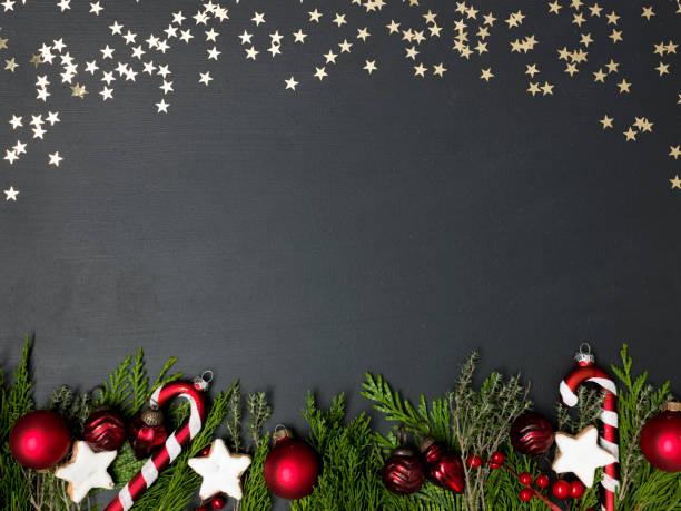 christmas background on black background stock photo