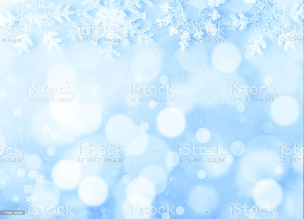 Christmas background on blue background and bokeh stock photo