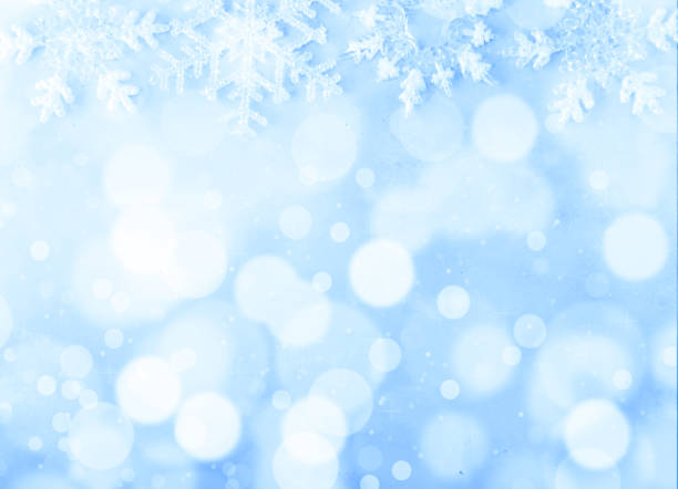 christmas background on blue background and bokeh - snowflake background stock pictures, royalty-free photos & images