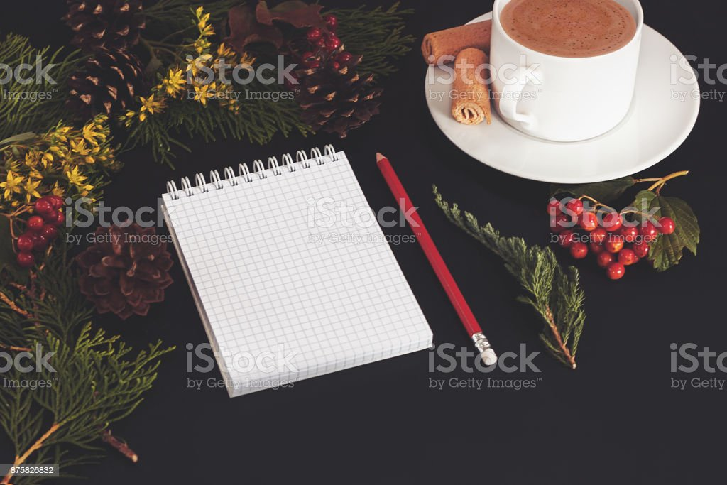 Christmas background or Xmas card  with decorations fir, gift box and ornamen. Space for Holiday Greetings.  Top view. Goal, planning winter holiday. Black backtop stock photo