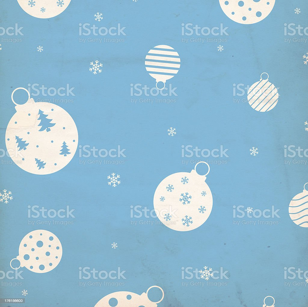 Christmas Background Paper - Blue Baubles stock photo